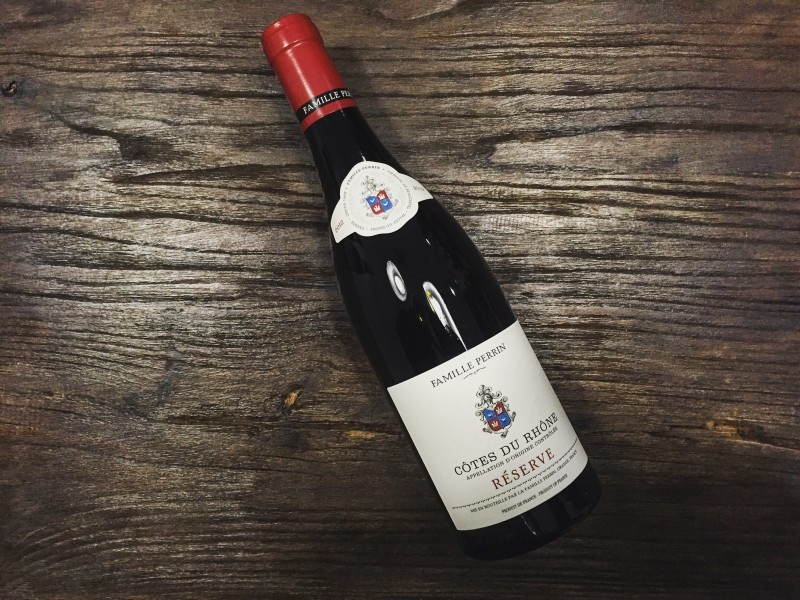 Our Côtes du Rhone Rouge from Famille Perrin; a well-strucured red