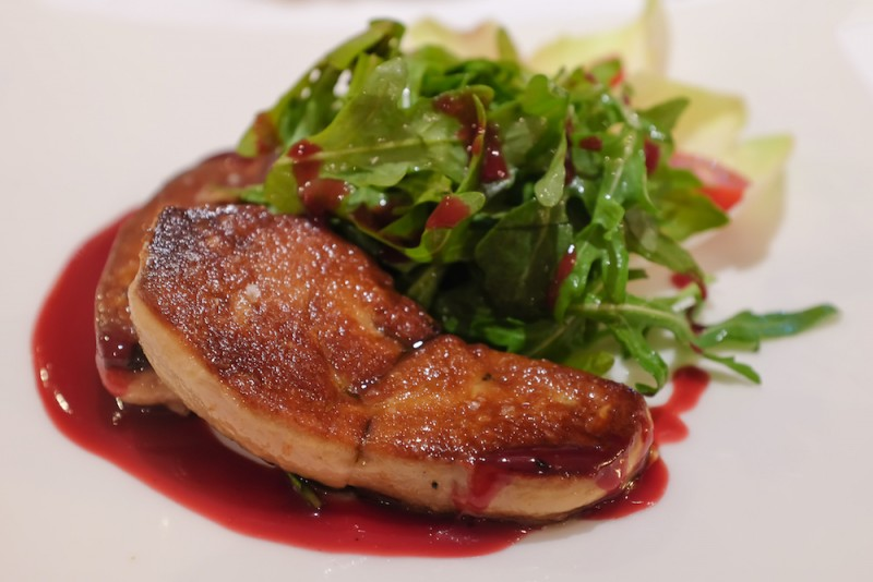 Grilled foie gras steak with green salad